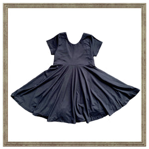 Solid Black Fall Twirl Peplum or Dress