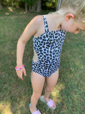 Snow Leopard Side Cutout One Piece Swimsuit