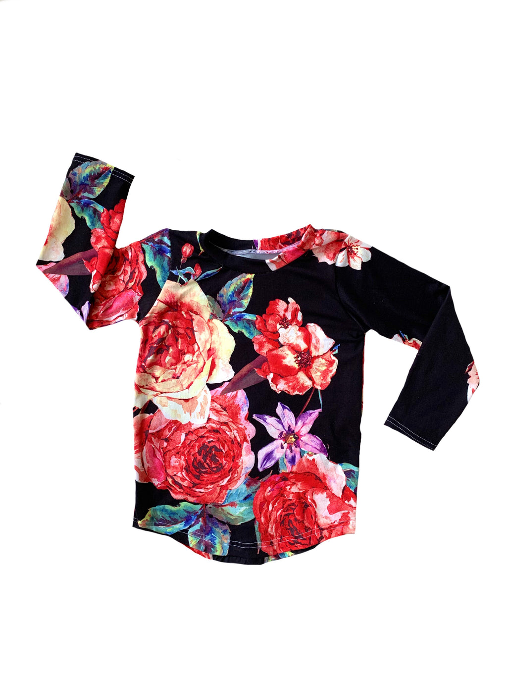 Floral on Black Curved Hem Tee