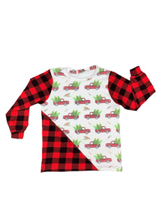Unisex Buffalo Plaid Trucks Color-Block Tee
