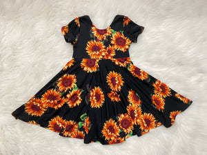 Black Sunflower Twirl Peplum or Dress