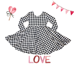 Black and White Checkered Twirl Dress