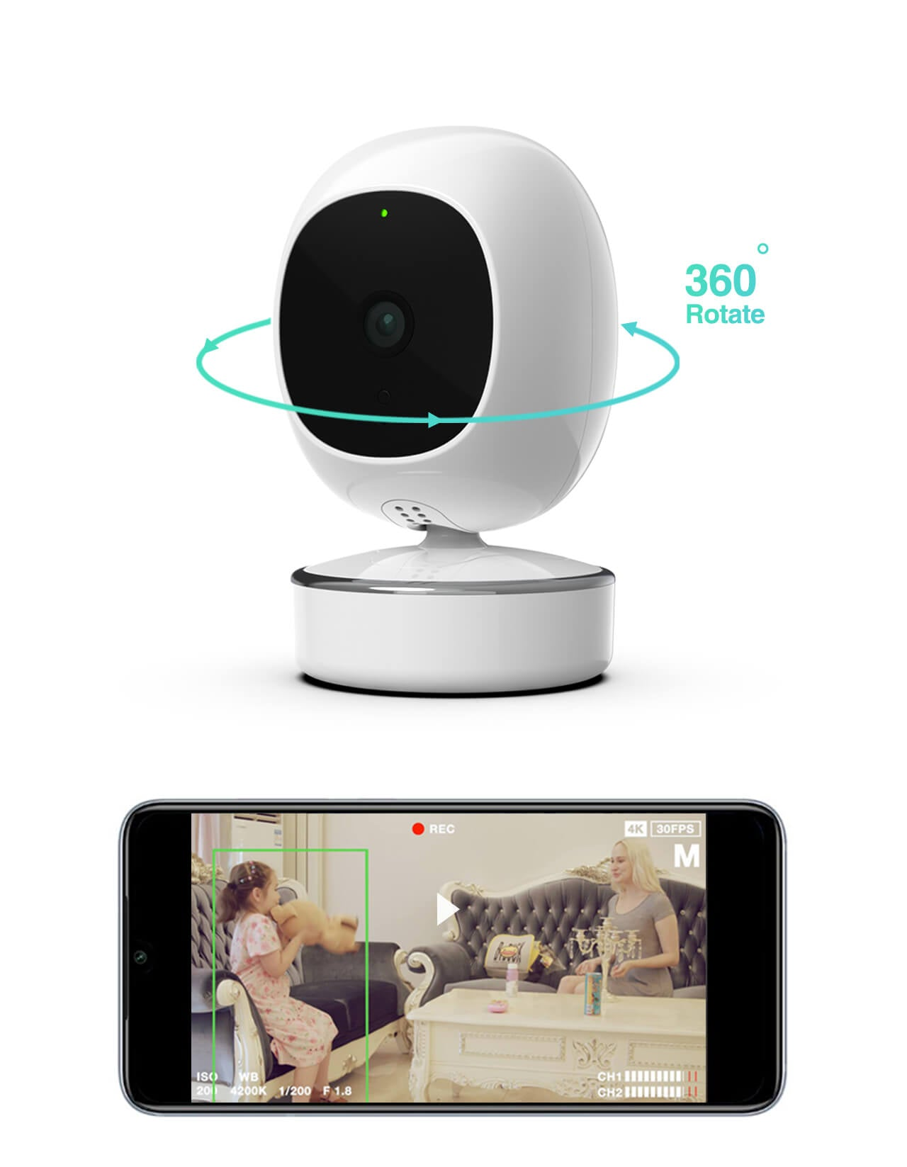 SimCam 1S AI Indoor Home Security Camera 360 person tracking