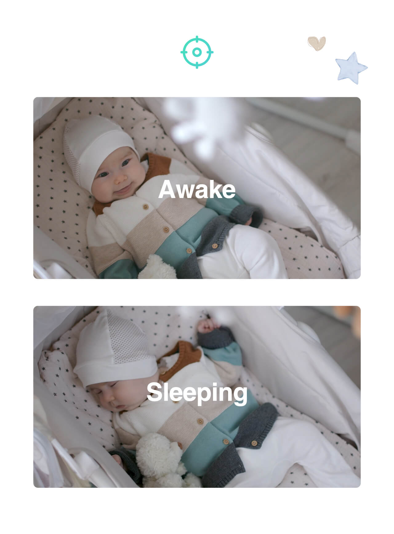 SimCam Baby can send alerts to your phone and record a video when your baby falls asleep or wakes up