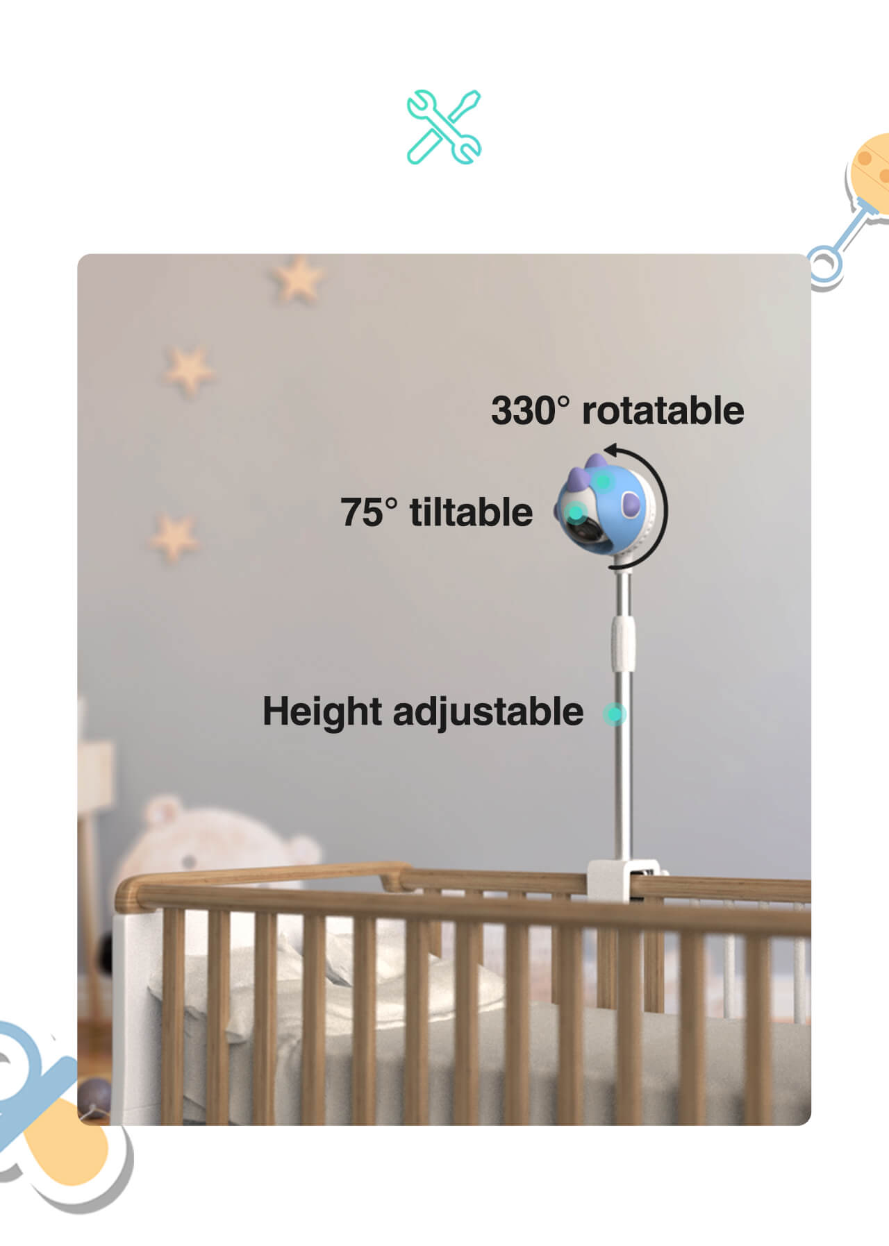 Mount the baby monitor to the crib holder provided
