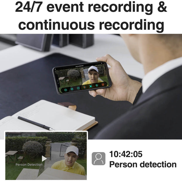 SimCam Alloy 1S AI Outdoor Security Camera 24/7 event recording