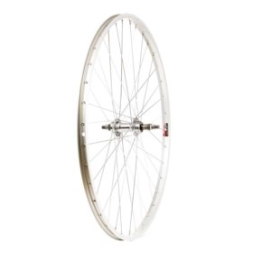 Wheel Shop Rear 700C Wheel 36H Silver Alloy Single Wall Alex X101/ Silver Joytech JY-434 Nutted Axle FW Hub Steel Spokes