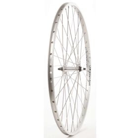 Wheel Shop Front 700C Wheel 36H Silver Alloy Double Wall Alex DM-18/ Silver Formula FM-21 Nutted Axle Hub Stainless Spokes