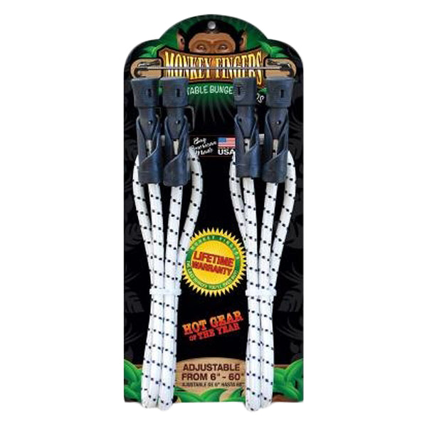 MONKEY FINGERS BUNGEE CORD MONKEY FINGERS DURA PLASTIC 6-60in ADJUSTABLE DOUBLE PACK BK