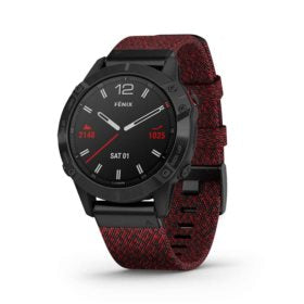 Garmin fenix 6 Sapphire Watch Watch Color: Black Wristband: Red - Nylon 010-02158-16