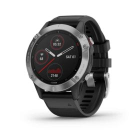Garmin fenix 6 Sport Watch Watch Color: Silver Wristband: Black - Silicone 010-02158-00