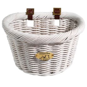 Nantucket Cruiser D-Shaped Basket White 14.5x10.5x9.5