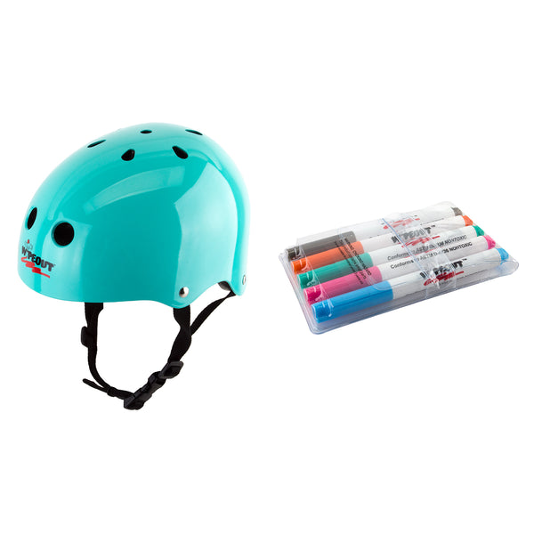 TRIPLE EIGHT HELMET TRIPLE8 WIPEOUT SKATE/BIKE YOUTH-MD TEAL BU