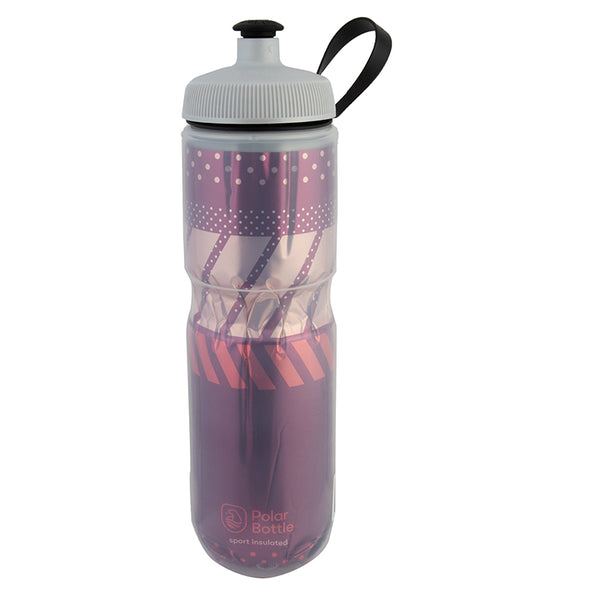 POLAR BOTTLE POLAR SPORT INSULATED 24oz TEMPO BURGUNDY/CORAL