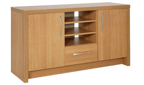 Venice 2 Door 1 Drawer Low Sideboard / Tv Unit - Oak Or White