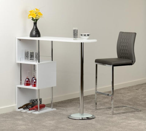 Charisma Home Bar Table in White/Chrome/Concrete