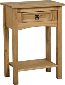 Corona 1 Drawer Console Table with Shelf - Distressed Waxed Pine