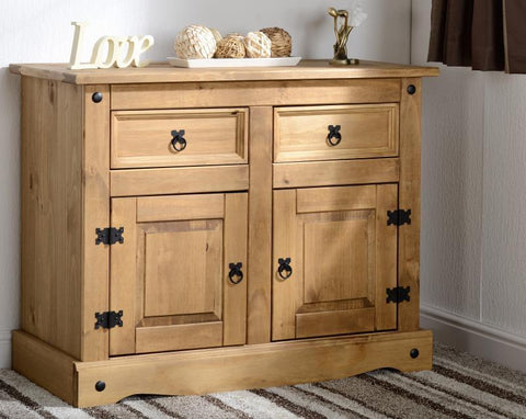 Corona 2 Door 2 Drawer Sideboard - Distressed Waxed Pine