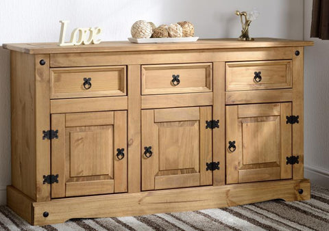 Corona 3 Door 3 Drawer Sideboard - Distressed Waxed Pine