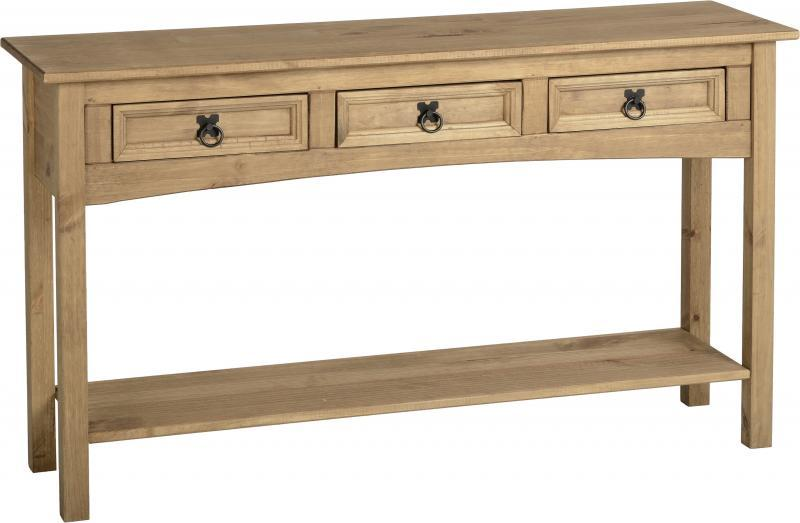 Corona 3 Drawer Console Table with Shelf - Distressed Waxed Pine