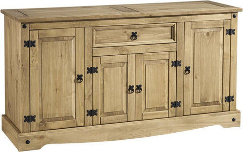 Corona 4 Door 1 Drawer Sideboard - Distressed Waxed Pine