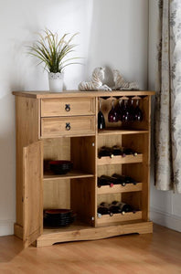Corona Sideboard/Wine Rack Unit - Distressed Waxed Pine