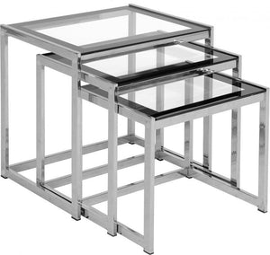 Hanley Nest of Tables - Clear Glass/Black Border