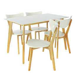 Harlow Dining Table & 4 Chairs - White/Grey