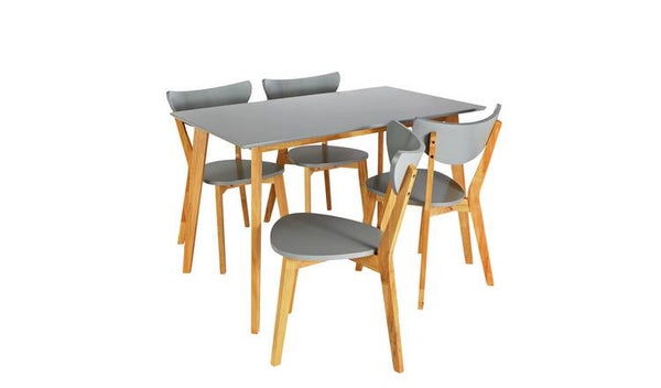 Harlow Dining Table & 4 Grey Chairs
