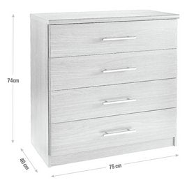 Normandy 4 Drawer Chest of Drawers - White
