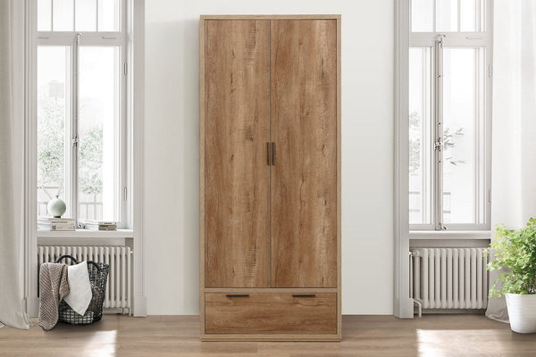 Stockwell 2 Door + 1 Drawer Wardrobe - Rustic Oak Effect