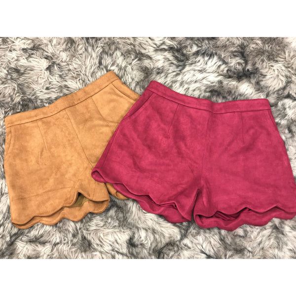 Suede Scallop Shorts