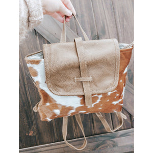 Brown Cowhide Myra Backpack Purse