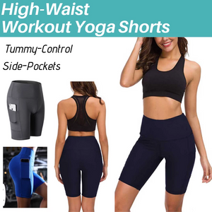 High Waist Workout Running Yoga Shorts Tummy Control Side Pockets(buy 3 get free shipping)