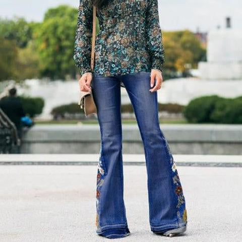 Embroidered Stretchy Bell-bottoms Jeans(buy 2 get free shipping)