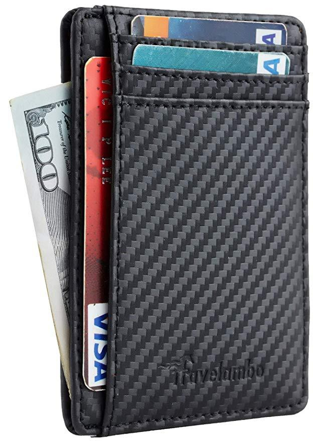 Front Pocket Minimalist Leather Slim Wallet RFID
