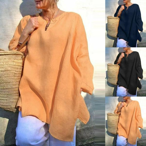 Plus Size Women Loose Baggy Long Sleeve T Shirt Summer Linen Beach Tunic Blouses(BUY 3 GET FREE SHIPPING)