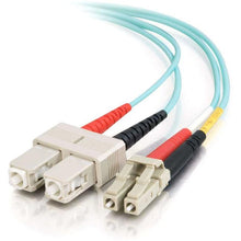 Load image into Gallery viewer, C2G 5m LC-SC 10Gb 50-125 Duplex Multimode OM3 Fiber Cable - Aqua - 16ft