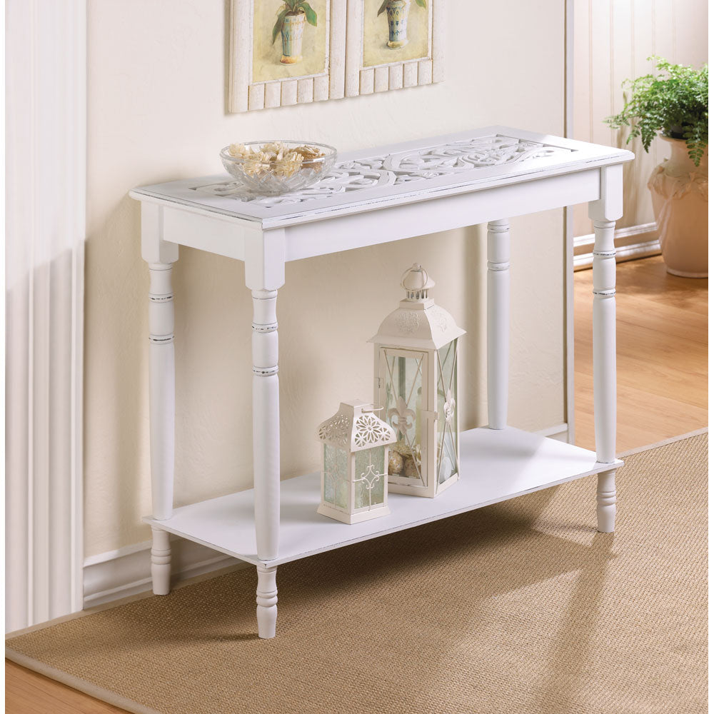 Accent furniture - white carved table