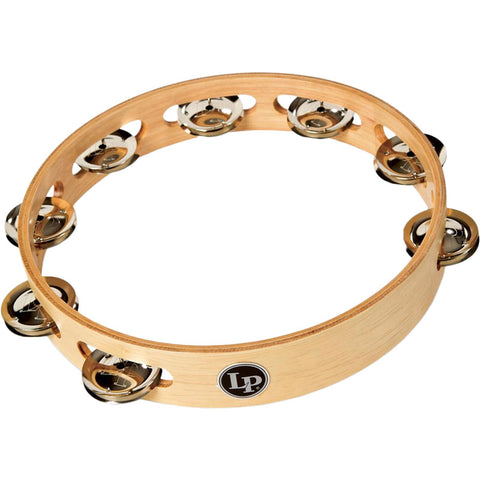 "LP LP381-B - 10"" Wood Tambourine - Single Row - Brass"