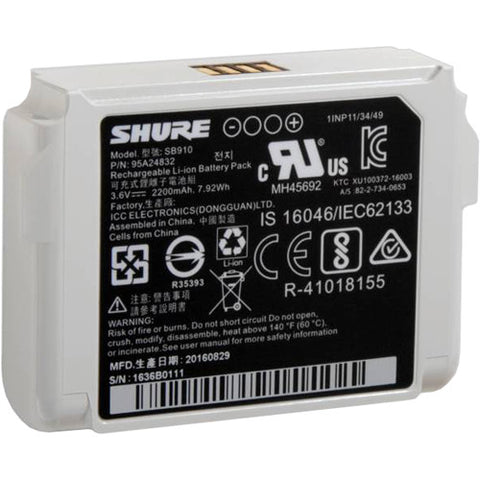 Shure SB910 Battery for ADX1 and ADX1 LEMO 3-Pin Transmitters