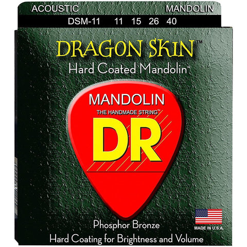 DR Strings DSM-11 (Custom Light) - Dragon Skin Clear Coated Acoustic: 11, 15, 26, 40