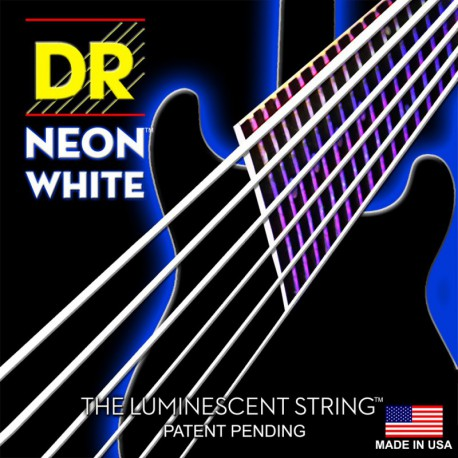 DR Strings NWE-9/46 (Light-Heavy) - Hi-Def NEON WHITE:  Coated Electric: 9, 11, 16, 26, 36, 46