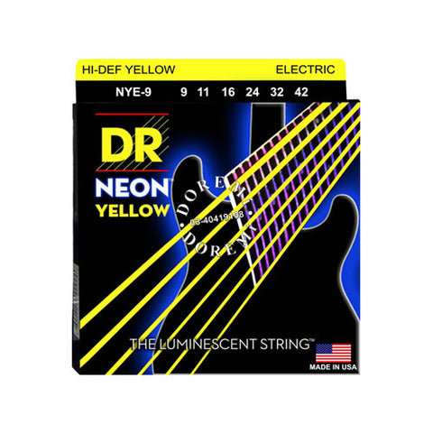 DR Strings NYE-9 (Light) - Hi-Def NEON YELLOW:  Coated Electric: 9, 11, 16, 24, 32, 42