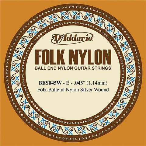 D'Addario BES045W - SINGLE FOLK SILVER 045 BALL