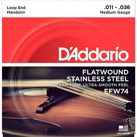 D'Addario EFW74 - SET MANDOLIN FLATWOUND MEDIUM