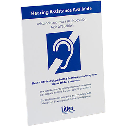 Listen Technologies LA-303 - Multi-Lingual Assistive Listening Notification Sign