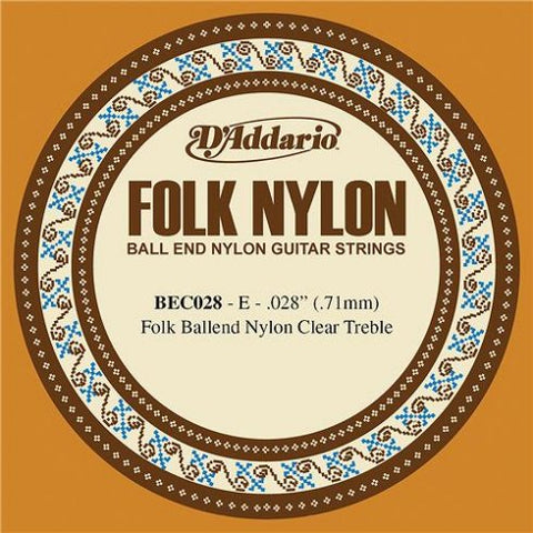D'Addario BEC028 - SINGLE FOLK CLR NYL 028 BALL