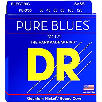 DR Strings PB6-30 (Medium 6's) - PURE BLUES  -Quantum-Nickel: 30, 45, 65, 85, 105, 125