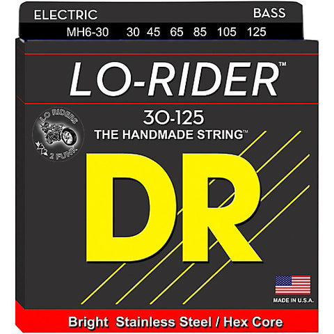 DR Strings MH6-30 (Medium 6's) - LO-RIDER  - Stainless Steel Bass: 30, 45, 65, 85, 105, 125
